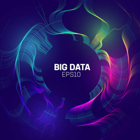 Big data stream vector abstract technology background. Circle background of data flow. Bigdata technology.