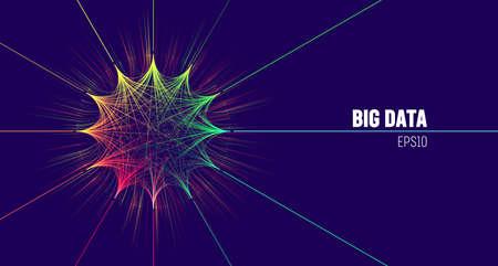 Big data visual technology. Big data analytics node. Digital analysis circle network
