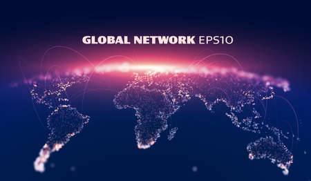 Global network vector background. Telecommunication iot system. IOT wire. 5G wire.