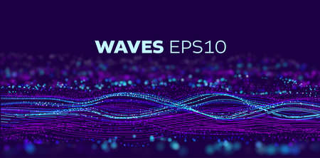 Sound wave tranfer motion. Speed particle fast data flow. Futuristic stream abstract vector background. Data transfer motion Stock Illustratie