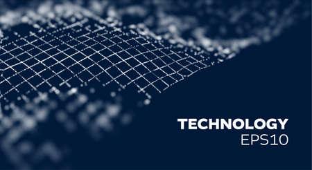 Crypto blockchain data background. Blockchain wave grid abstract vector background. Technology future mesh