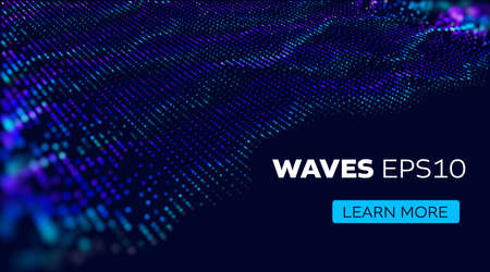 Sound vector background. Wave of particles futuristic stream. Science background