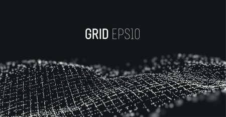 3d particles grid. Sound wave vector background