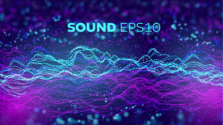 Audio wave abstract vector background. Sound data voice flow. Artificial intelligence vector background