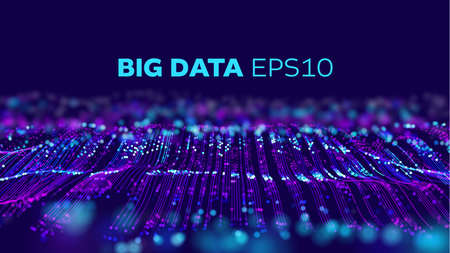 Big data technology vector background. Big data network. Geometric future ai background