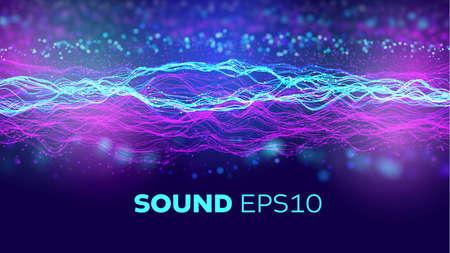 Audio wave background. Artificial intelligence synergy bigdata flow. Speed data wave. 5G Stock Illustratie