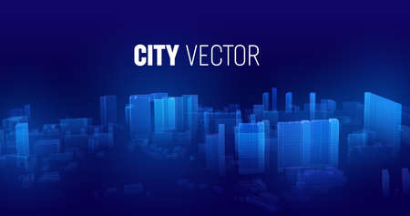 City future vector background. Cyberspace futuristic city in game. Cyberspace matrix technology Stock Illustratie
