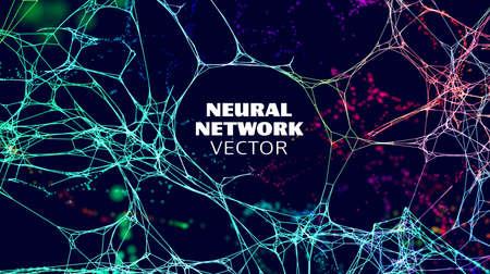Neural network artificial intelligence vector background. Machine network neurons. Blockchain database. Neural interface. Stock Illustratie