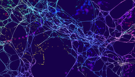 Technology vector background. Science data network vector background. Organic neural network.