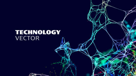 Artificial intelligence tech background. Neural network system technology. Digital neuron AI. Biology science vector background.