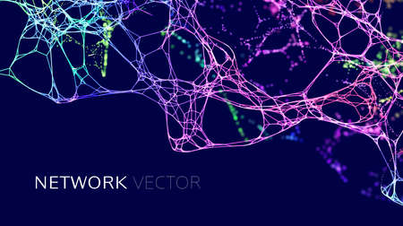 Neuron network background. Data science technology vector background. Neural network AI data IOT.