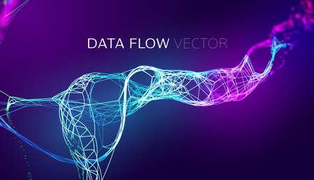 AI stream data flow vector background. AI synergy wave stream. Data fibers flow. Futuristic network