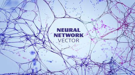 Neural network artificial intelligence vector background. Machine network neurons. Blockchain database. Neural interface. IOT