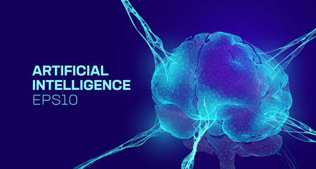 AI vector background. Artificial intelligence brain. Psychology vector background. AI data memory connect. Neuron network