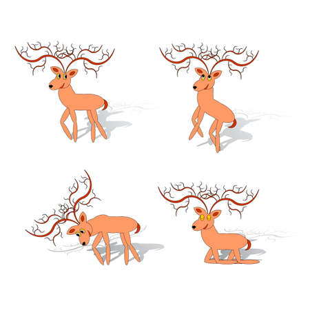 Funny deers on a white background. Vector art Vector