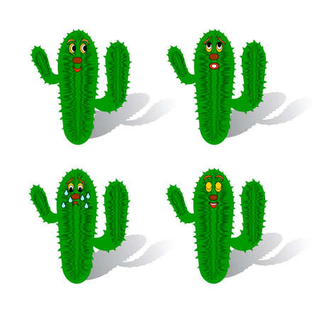 Funny cartoon cacti. Vector-art on a white background Vector