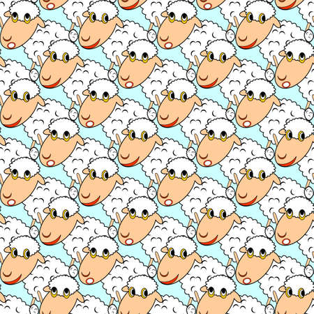Design seamless pattern with cartoon sheeps. Vector art Vector