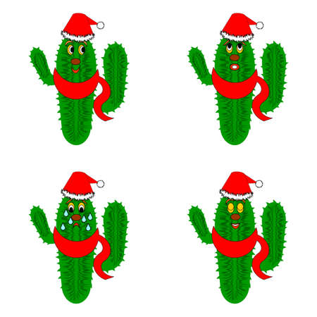 Funny christmas cacti. Vector-art illustration on a whte background Vector