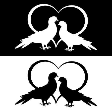 두 비둘기와 심장의 흑백 실루엣. 벡터 아트 그림 일러스트