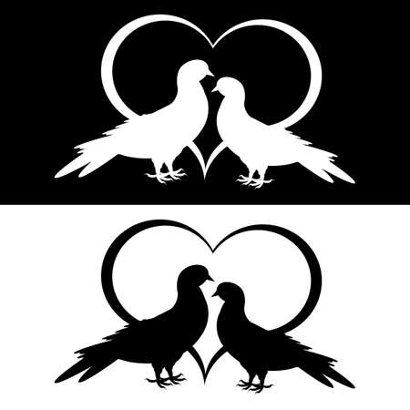 Monochrome silhouette of two doves and a heart. Vector-art illustration