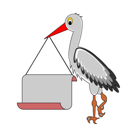 A stork holding a big blank paper in his beak.