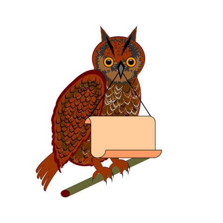 strigiformes: An owl holding a big blank paper in his beak. Illustration