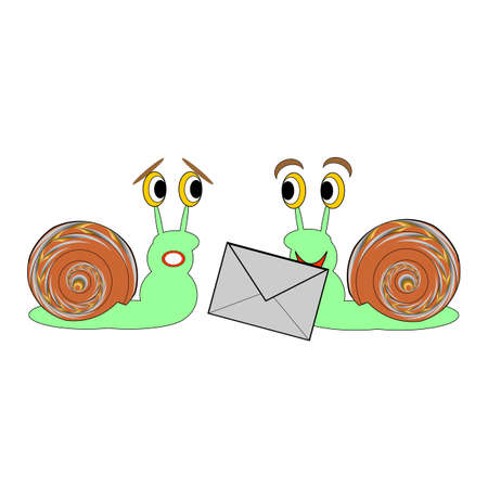 cockleshell: Two funny cartoon snails with a letter.  Illustration
