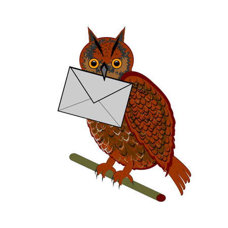 A funny owl with a letter in his beak.  Vector