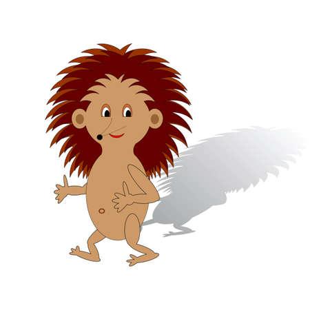gnawer: A funny cartoon hedgehog on a white background.