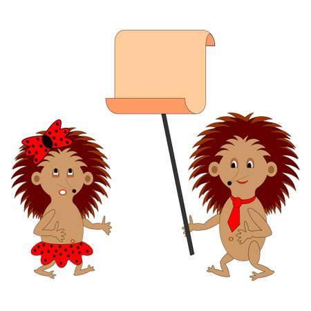 gnawer: A couple of funny cartoon hedgehogs with a big blank paper.