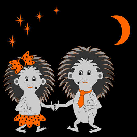 A couple of funny cartoon hedgehogs dating in the night.  Vector