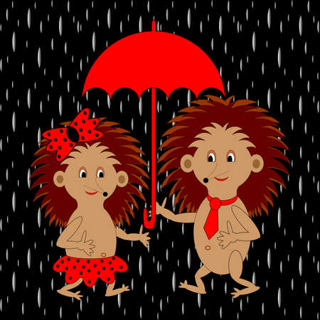 prickles: A couple of funny cartoon hedgehogs under red umbrella in the rain.
