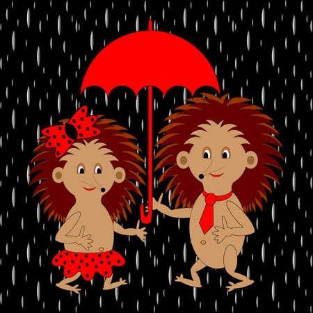mauvais temps: Un couple de hérissons drôles de bande dessinée sous le parapluie rouge sous la pluie. Illustration