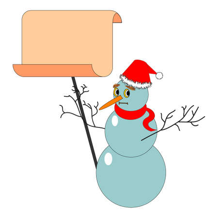 A Christmas snowman with a big blank paper. Vector-art illustration isolated on a white background Vector