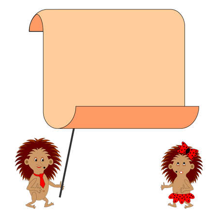 gnawer: A couple of funny cartoon hedgehogs with a big blank paper. Vector-art illustration on a white background Illustration