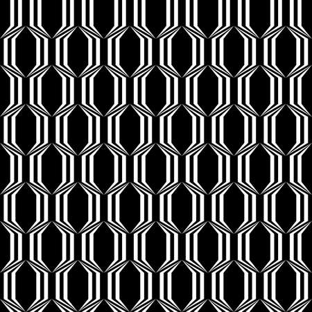 polyhedral: Design seamless monochrome trellised pattern. Vector art