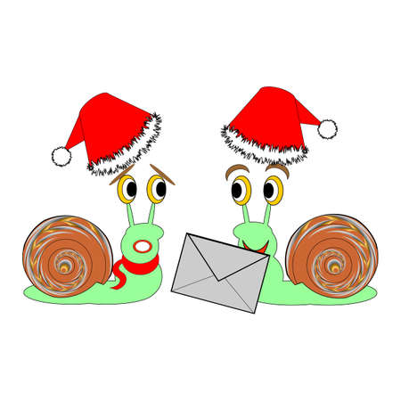 Two funny Christmas cartoon snails with a letter. Vector-art illustration