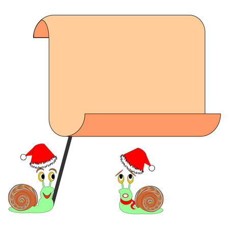 Two funny Christmas cartoon snails with a big blank paper. Vector-art illustration Vector