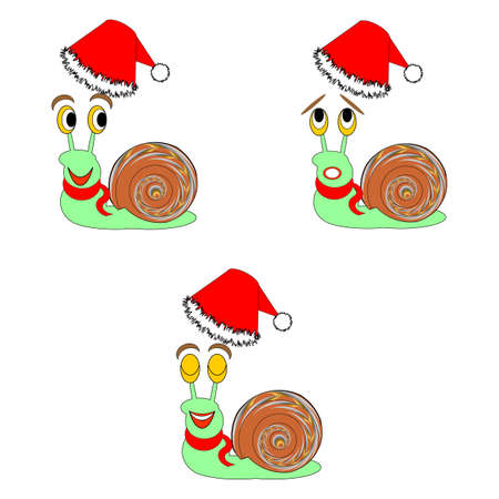 Funny Christmas snails with different facial expressions. Vector-art illustration Vector