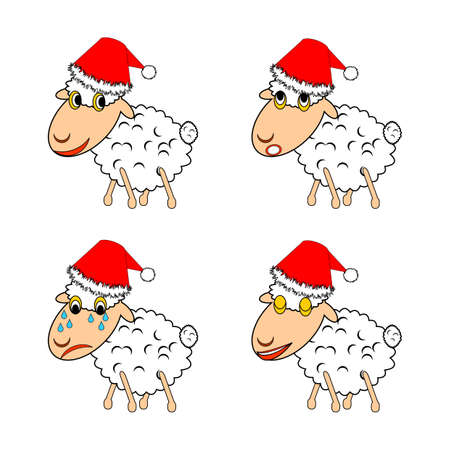 A funny Christmas sheep expressing different emotions. Vector-art illustration on a white background Vector