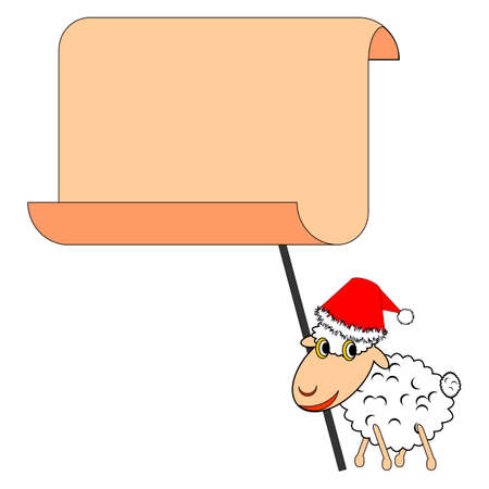 A funny Christmas sheep with a big blank paper. Vector-art illustration Vector