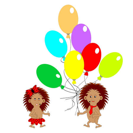 gnawer: A couple of funny hedgehogs with many colorful balloons. Vector-art illustration Illustration