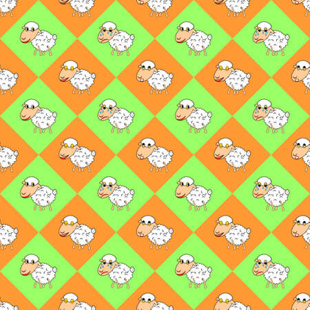 Design colorful diamond children background with funny cartoon sheep. Vector art Vector
