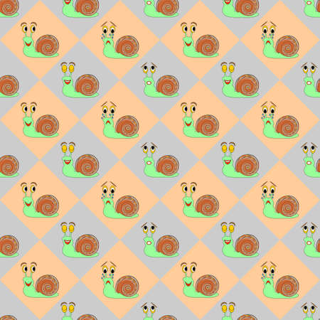 Colorful diamond children pattern with funny cartoon snails. Vector art Vector