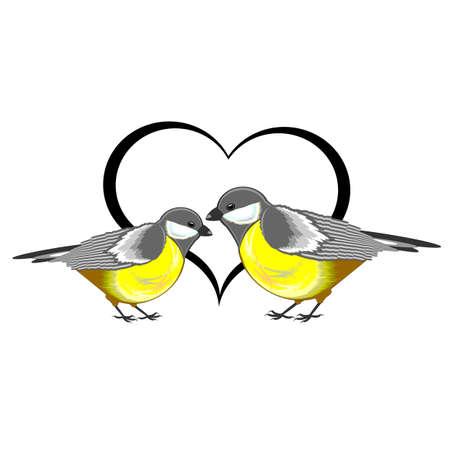 Een paar vogels (mezen) met een hart. Vector-kunst illustratie op een witte achtergrond Stock Illustratie