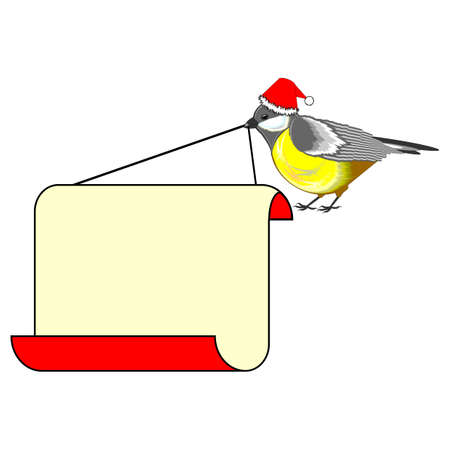 titmouse: A cute Christmas bird (titmouse) with a big blank paper in its beak. Vector-art illustration on a white background Illustration