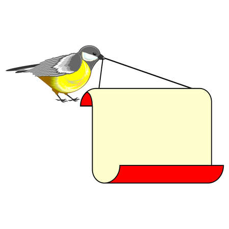 titmouse: A cute bird (titmouse) with a big blank paper in its beak. Vector-art illustration on a white background