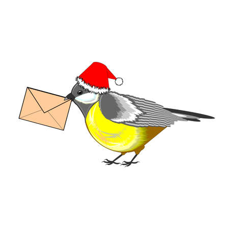 A Christmas titmouse with a letter in its beak. Vector-art illustration on a white background Vector
