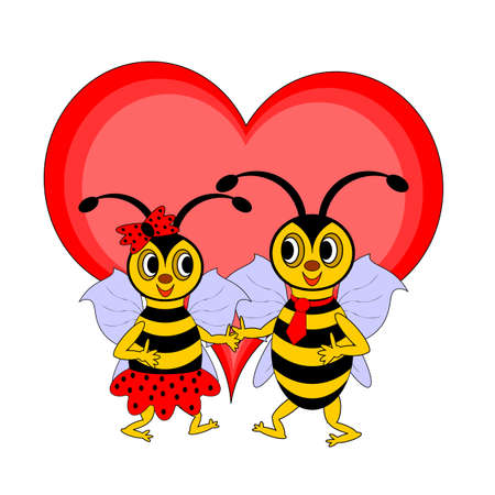 A couple of funny cartoon bees with a red heart.  Vectores