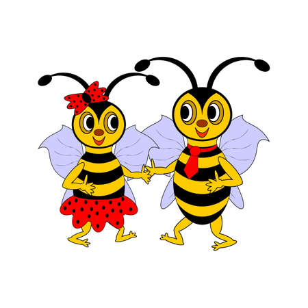 A couple of funny cartoon bees. Vector-art illustration on a white background Vector